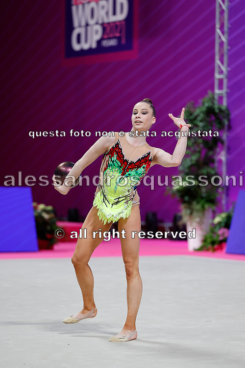 Dokutsajeva Erika of Estonia competes during the Rhythmic Gymnastics Individual qulification of the World Cup at Vitrifrigo Arena  on May 28, 2021,in Pesaro, Italy.