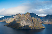 Olstinden peak and mountains of Lofoten Islands, Norway