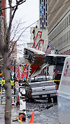 Feb. 5, 2016 - New York City, NY, USA - <br /> General views of a crane collapse which killed one and injured several others on Worth Street in Tribeca <br /> ©Exclusivepix Media