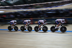 February 28, 2019 - Pruszkow, Poland - Ethan Hayter (GBR) Edward Clancy (GBR) Kian Emadi (GBR) Charlie Tanfield (GBR) - Men's team pursuit on day two of the UCI Track Cycling World Championships held in the BGZ BNP Paribas Velodrome Arena on February 28, 2019 in Pruszkow, Poland. (Credit Image: © Foto Olimpik/NurPhoto via ZUMA Press)