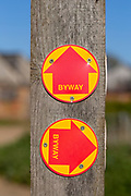Macro close up of Byway signs on fencepost, Sutton, Suffolk, UK
