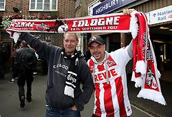 FC Koln fans outside Higbury and Islington underground station prior to the Europa League match at the Emirates Stadium, London.