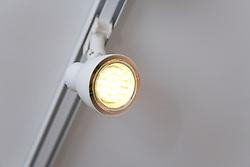 Energy saving coloured LED light bulb at the David Wilson Millennium EcoHouse; University of Nottingham,