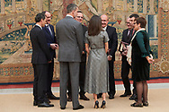 King Felipe VI of Spain, Queen Letizia of Spain attends the Delivery of the National Research Awards 2018 at Palacio de El Pardo on February 21, 2019 in Madrid, Spain