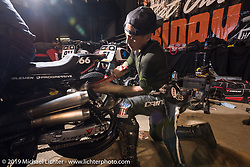 Racer Shaun Guardado of Suicide Machine at the Flat Out Friday indoor flat track racing during the Mama Tried Show weekend. Milwaukee, WI. USA. Friday February 23, 2018. Photography ©2018 Michael Lichter.