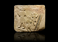 Landscape picture of Alaca Hoyuk Sphinx Gate Hittite monumental relief sculpted orthostat stone panel. Andesite, Alaca, Corum, 1399 - 1301 B.C. Jugglers and acrobats.  Anatolian Civilizations Museum, Ankara, Turkey<br /> <br /> The juggler facing towards left, with long hair and a short dress, swallows a dagger; the smaller acrobats behind go up the stairs without holding on. All the figures have horned headdresses and earrings with a huge ring on their ears. It is thought that the acrobats are of different nationality, which is the reason why they are depicted smaller.<br /> <br /> Against a black background. .<br />  <br /> If you prefer to buy from our ALAMY STOCK LIBRARY page at https://www.alamy.com/portfolio/paul-williams-funkystock/hittite-art-antiquities.html . Type - Aalca Hoyuk - in LOWER SEARCH WITHIN GALLERY box. Refine search by adding background colour, place, museum etc.<br /> <br /> Visit our HITTITE PHOTO COLLECTIONS for more photos to download or buy as wall art prints https://funkystock.photoshelter.com/gallery-collection/The-Hittites-Art-Artefacts-Antiquities-Historic-Sites-Pictures-Images-of/C0000NUBSMhSc3Oo