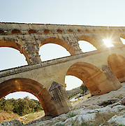 The Pont du Gard, an Roman aqueduct, near Remoulins over the Gard River, Gard region, France