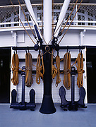 Anchors for the S.S. Klondike II, a sternwheeler built in 1937 that hauled cargo, passengers and ore on the Yukon River, S.S. Klondike National Historic Site, Whitehorse, Yukon Territory, Canada.