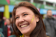 a Female South African fan looks on outside Twickenham Stadium before k/o. Rugby World Cup 2015 quarter final match, South Africa v Wales at Twickenham Stadium in London, England  on Saturday 17th October 2015.<br /> pic by  John Patrick Fletcher, Andrew Orchard sports photography.