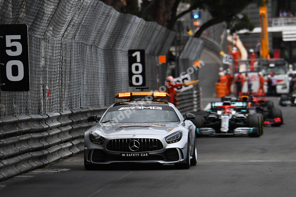Safety car leads Lewus Hamilton (Mercedes) and the rest of the field during the 2019 Monaco Grand Prix. Photo: Grand Prix Photo