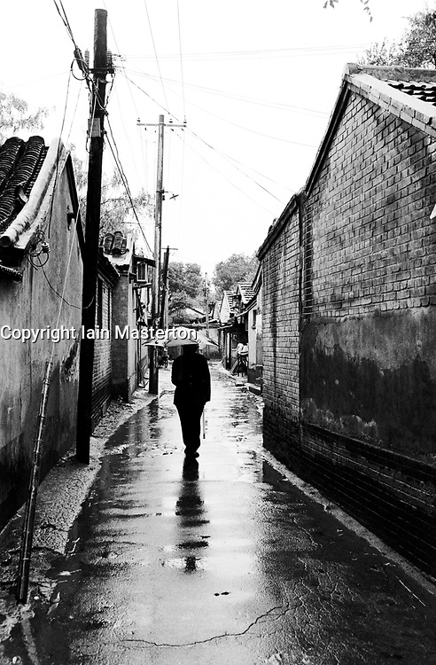 Rainy day in a typical hutong in Beijing