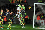 Swansea city's Ashley Williams is kept out by Stoke keeper Asmir Begovic and Jonathan Walters (19). Barclays Premier league, Swansea city v Stoke city at the Liberty Stadium in Swansea, South Wales on Sunday 10th November 2013. pic by Andrew Orchard, Andrew Orchard sports photography,