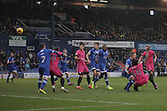 Southend United striker Nile Ranger (50) scores the opening goal to make the score 1-0 during the EFL Sky Bet League 1 match between Oldham Athletic and Southend United at Boundary Park, Oldham, England on 17 December 2016. Photo by Simon Brady.