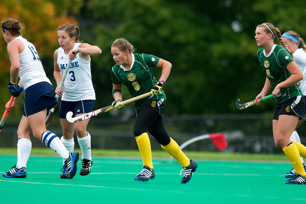 Catamounts forward Taylor Silvestro (6) in action during the women's field hockey game between the Maine Black Bears and the Vermont Catamounts at Moulton/Winder Field on Saturday afternoon September 29, 2012 in Burlington, Vermont.