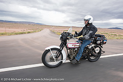 Vinnie Grasser of Florida on his 1916 Harley-Davidson during the Motorcycle Cannonball Race of the Century. Stage-12 ride from Page, AZ to Williams, AZ. USA. Thursday September 22, 2016. Photography ©2016 Michael Lichter.