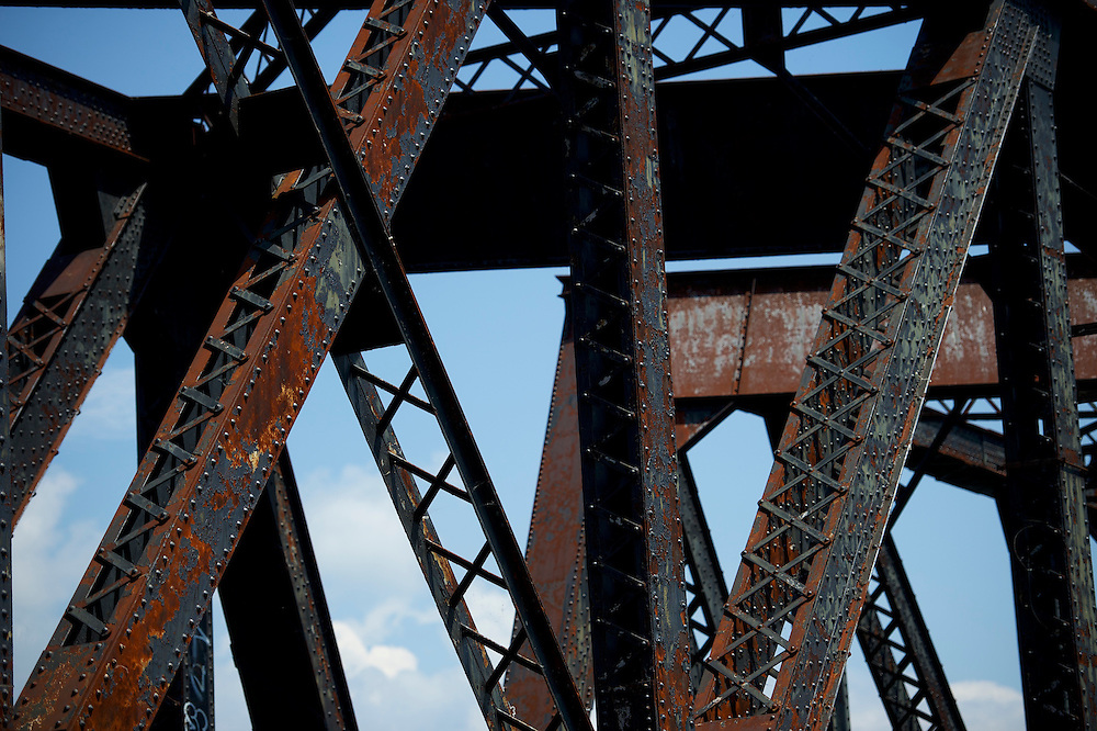 WILKES-BARRE- May 27, 2016.  A rusted rail road bridge stretches across the Susquehanna River in Wilkes-Barre, PA, a city of 41,000 in central Pennsylvania.  Wilkes-Barre is the county seat of Luzerne County, in which 77.4% of Republicans voted for Donald Trump.