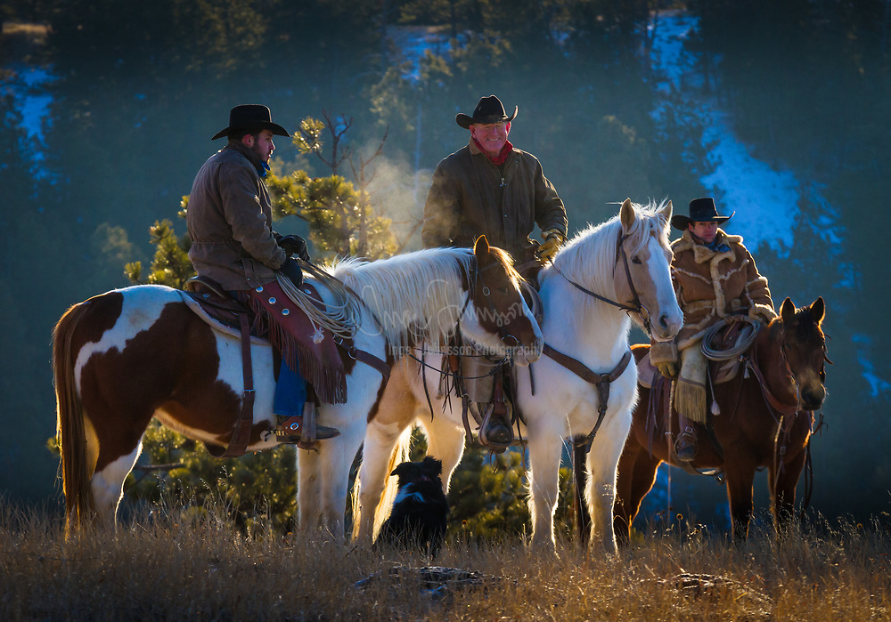Cowboys on horseback in northeastern Wyoming