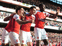 FOOTBALL - 2018 / 2019 Premier League - Arsenal vs. Watford<br /> <br /> Arsenal players, Hector Bellerin, Granit Xhaka and Danny Welbeck celebrate their first goal, at the Emirates<br /> <br /> COLORSPORT/ANDREW COWIE