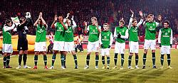 18.02.2010, Stadion De Grolsch Veste, Enschede, NED, UEFA EL, FC Twente Enschede vs Werder Bremen, im Bild Torsten Frings (GER Werder #22), Tim Wiese (GER Werder #01), Petri Pasanen (FIN Werder #03), Naldo (BRA Werder #04), Peter Niemeyer (GER Werder #25), Marko Marin (GER Werder #10), Aaron Hunt (GER Werder #14), Clemens Fritz (GER Werder #08), Per Mertesacker (GER Werder #29), Mesut Özil (Oezil GER Werder #11), EXPA Pictures © 2010 for Austria only, Photographer EXPA / NPH / Arend / for Slovenia SPORTIDA PHOTO AGENCY.