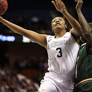 Morgan Tuck, UConn, shoots past Alisia Jenkins, USF, during the UConn Huskies Vs USF Bulls Basketball Final game at the American Athletic Conference Women's College Basketball Championships 2015 at Mohegan Sun Arena, Uncasville, Connecticut, USA. 9th March 2015. Photo Tim Clayton