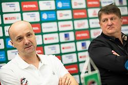 Jure Zdovc and Roman Lisac when  Zdovc was introduced as a new coach of KK Petrol Olimpija, on February 20, 2019 in Arena Stozice, Ljubljana, Slovenia. Photo by Vid Ponikvar / Sportida