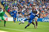 Football - 2017 / 2018 Championship - Cardiff City vs. Aston Villa<br /> <br /> <br /> Sol Bamba of Cardiff City  clears & Scott Hogan of Aston Villa, at Cardiff City Stadium<br /> <br /> COLORSPORT/WINSTON BYNORTH