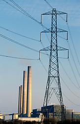 Blyth oil fired power station & electricity pylon; Northumberland; UK