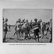 Gathering the Dead after the Battle of Magersfontein (11 December 1899), from the book ' Boer and Britisher in South Africa; a history of the Boer-British war and the wars for United South Africa, together with biographies of the great men who made the history of South Africa ' By Neville, John Ormond Published by Thompson & Thomas, Chicago, USA in 1900