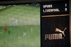 LONDON, ENGLAND - Wednesday, February 1, 2012: The scoreboard records Tottenham Hotspur's 1-0 victory over Liverpool during the NextGen Series Quarter-Final match at White Hart Lane. (Pic by David Rawcliffe/Propaganda)