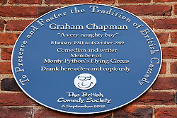 © under license to London News Pictures. 25/06/12..A blue plaque to former Monty Python star, Graham Chapman is unveiled at the Angel Inn, North london. The memorial has been organised by Chapman's family, friends, and former colleagues, following the news that English Heritage have dropped plans for an 'official' Blue Plaque to the star, due to budget cuts. Fellow Pythons Terry Jones and Michael Palin who will be joined at the unveiling by comedians and former colleagues such as Barry Cryer and Python actress Carol Cleveland...ALEX CHRISTOFIDES/LNP