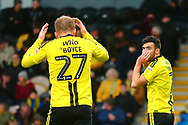 Burton Albion forward Liam Boyce (27) and Burton Albion midfielder Scott Fraser (7) react after a good chance to score is wasted by Burton during the EFL Sky Bet League 1 match between Burton Albion and Peterborough United at the Pirelli Stadium, Burton upon Trent, England on 27 October 2018.