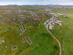 Aerial view from drone of Gearrannan Blackhouse village at Garenin on Isle of Lewis , Outer Hebrides, Scotland UK