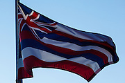 USA, Oregon, Salem, State Capitol State Park, the Hawaiian state flag.