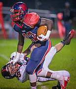 Willingboro's Iverson Clements runs past Cinnaminson's Paul Silver during their game played in Willingboro, N.J., Friday, September 19,  2014 (PHOTO Bryan Woolston / @woolstonphoto)