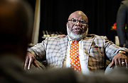 T.D. Jakes talks with Chancellor Harold L. Martin Sr. before North Carolina Agricultural and Technical State University's spring Chancellor's Speaker Series on Thursday, April 11, 2019.<br /> <br /> (Chris English/Tigermoth Creative)