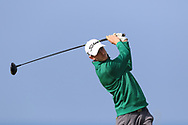 Tiernan McLarnon (Masereene) on the 1st tee during Round 4 of The West of Ireland Open Championship in Co. Sligo Golf Club, Rosses Point, Sligo on Sunday 7th April 2019.<br /> Picture:  Thos Caffrey / www.golffile.ie