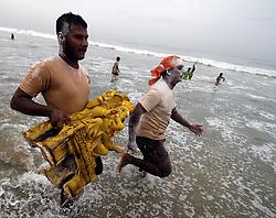 CHENNAI, Sept. 12, 2016 (Xinhua) -- Devotees carry an idol of Hindu god Lord Ganesha to the sea in celebration of Ganesh Chaturthi festival in Chennai, Indian southeastern state of Tamil Nadu, Sept. 11, 2016. Ganesh Chaturthi is the Hindu festival celebrated in honor of the elephant-headed god Ganesha. (Xinhua/Stringer).****Authorized by ytfs* (Credit Image: © Stringer/Xinhua via ZUMA Wire)