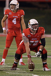 NORMAL, IL - September 08: Garrett Hirsch centers for Brady Davis during 107th Mid-America Classic college football game between the ISU (Illinois State University) Redbirds and the Eastern Illinois Panthers on September 08 2018 at Hancock Stadium in Normal, IL. (Photo by Alan Look)