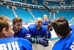 Blaz Gregorc, Bostjan Golicic and Jan Drozg at ice hockey practice one day before at IIHF World Championship DIV. I Group A Kazakhstan 2019, on April 28, 2019 in Barys Arena, Nur-Sultan, Kazakhstan. Photo by Matic Klansek Velej / Sportida
