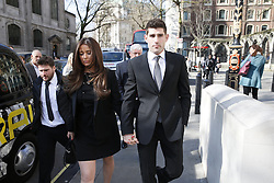 © Licensed to London News Pictures. 22/03/2016. London, UK. Footballer Ched Evans arrives at The Royal Courts of Justice to attend an appeal hearing for his rape conviction.  Photo credit: Peter Macdiarmid/LNP