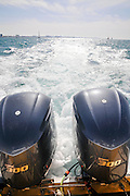 Two outboard engines on a motorboat