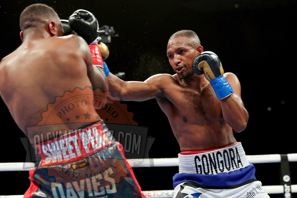 HOLLYWOOD, FL - APRIL 17: Carlos Gongora fights Christopher Pearson during the IBO World Super Middleweight title fight at Seminole Hard Rock Hotel & Casino on April 17, 2021 in Hollywood, Florida. (Photo by Alex Menendez/Getty Images) *** Local Caption *** Carlos Gongora; Christopher Pearson