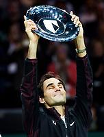 ROTTERDAM -  De Zwitser Roger Federer wint  zijn partij van de Bulgaar Grigor Dimitrov, in de finale van het ABN AMRO World Tennis Tournament.  ANP KOEN SUYK