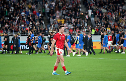 Wales' Josh Adams appears dejeccted as he leaves the pitch after the 2019 Rugby World Cup bronze final match at Tokyo Stadium.
