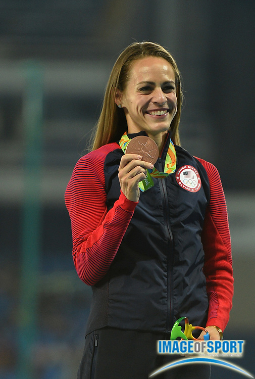 Aug 17, 2016; Rio de Janeiro, Brazil; Jennifer Simpson (USA) with her bronze medal after the women's 1500m final in the Rio 2016 Summer Olympic Games at Estadio Olimpico Joao Havelange. Mandatory Credit: James Lang-USA TODAY Sports
