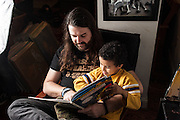 BALTIMORE, MD -- 12/22/14 -- Benjamin Jancewicz, 31, a designer from Baltimore, with his son, Arion Jancewicz, 6, talks about the complexity of being a biracial family.…by André Chung #_AC23701