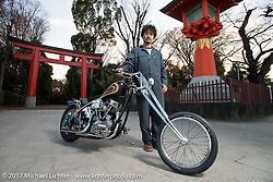 "Cherry's Company's Kaichiroh ""Kross"" Kurosu's with his custom 1949 Harley-Davidson Panhead in front of a Torii Gate at a Shinto Shrine near his shop. Thursday December 7, 2017. Photography ©2017 Michael Lichter."