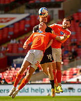 Lincoln City's Callum Morton battles with Blackpool's Daniel Ballard, left, and Kenny Dougall<br /> <br /> Photographer Andrew Vaughan/CameraSport<br /> <br /> The EFL Sky Bet League One Play-Off Final - Blackpool v Lincoln City - Sunday 30th May 2021 - Wembley Stadium - London<br /> <br /> World Copyright © 2021 CameraSport. All rights reserved. 43 Linden Ave. Countesthorpe. Leicester. England. LE8 5PG - Tel: +44 (0) 116 277 4147 - admin@camerasport.com - www.camerasport.com
