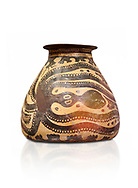 Minoan decorated clay alabastra with stylised octopus amongst rocks design, Konssos-Little Palace 1450-1370 BC; Heraklion Archaeological  Museum, white background .<br /> <br /> If you prefer to buy from our ALAMY PHOTO LIBRARY  Collection visit : https://www.alamy.com/portfolio/paul-williams-funkystock/minoan-art-artefacts.html . Type -   Heraklion   - into the LOWER SEARCH WITHIN GALLERY box. Refine search by adding background colour, place, museum etc<br /> <br /> Visit our MINOAN ART PHOTO COLLECTIONS for more photos to download  as wall art prints https://funkystock.photoshelter.com/gallery-collection/Ancient-Minoans-Art-Artefacts-Antiquities-Historic-Places-Pictures-Images-of/C0000ricT2SU_M9w