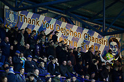 A banner thanking Sheffield Wednesday owner Dejphon Chansiri at the back of the Top at Hillsborough during the EFL Sky Bet Championship match between Sheffield Wednesday and Sheffield United at Hillsborough, Sheffield, England on 4 March 2019.